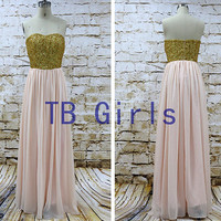 Light Pink Gold Sequins Crystal Prom Dresses, Long Bridesmaid Dress, Chiffon Evening Dress, Homecoming Dress, Women's Birthday Party Dress