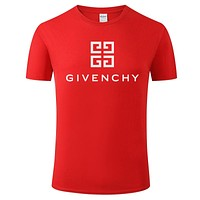 Givenchy Tide brand solid color letter printing men and women casual round neck half sleeve shirt Red