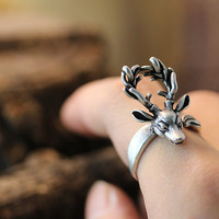 Adjustable Retro Deer Ring Antler Antique Silver tone Animal Ring Jewelry Free Size gift idea