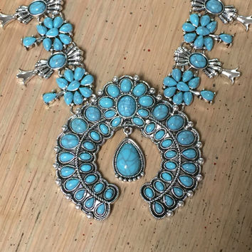 Half moon Squash Blossom Necklace   Turquoise Navajo Jewelry   Faux Turquoise bohemian 70s Style Silver Tone Tribal Boho Necklace Chunky Naj