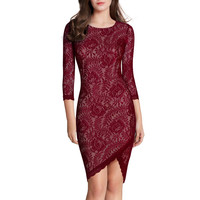 Vintage Elegant Red Floral Lace 2/3 Sleeve Slim Casual Bodycon Dress