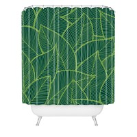 Arcturus Lime Green Leaves Shower Curtain