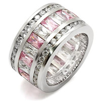 Emerald Cut Pink CZ Rhodium .925 Sterling Silver Eternity Ring
