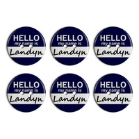Landyn Hello My Name Is Plastic Resin Button Set of 6