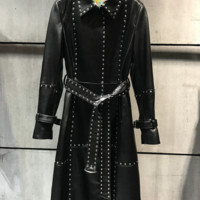 Rahni Leather Studded Trench Coat