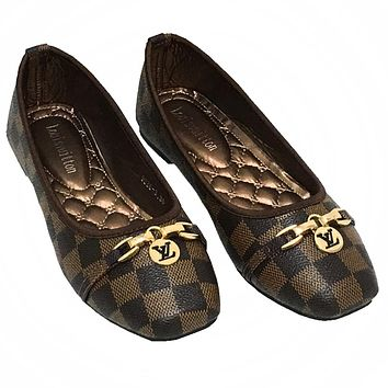 LV Tide brand classic checkerboard flat shallow mouth square head single shoes coffee check