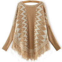 Geo-Print Batwing Sleeve Fringed Sweater