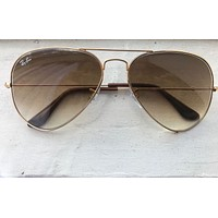 Gold/Brown RAYBAN Aviator Gradient Sunglasses