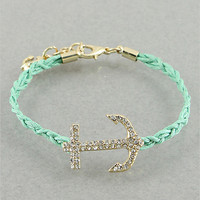 Crystal Anchor Bracelet in Mint, Yellow or White from P.S. I Love You More Boutique