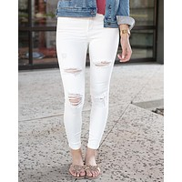 Grace & Lace White Distressed Ankle Jeggings - White