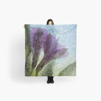 Green Blue and Pink Floral  Oversized Square Scarf with Couple of Peruvian Lilies - Couple Love  - Romantic Valentine Day gift