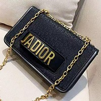 DIOR New fashion metal letter and more letter leather chain shoulder bag Black