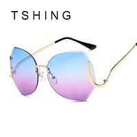 TSHING Fashion Elegant Oversized Rimless Gradient Sunglasses Women Luxury Diamond Cut Lens Big Optics Glasses Female Eyeglasses