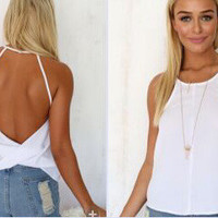 Sexy Womens Loose Casual Backless Vest Sleeveless Summer Shirt Tank Tops Blouse = 6092481475
