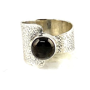 Shungite Sterling Silver Two Half's Ring