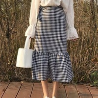 Woherb New 2017 Fashion Korean Black White Plaid Mermaid Ruffles Skirts Woman Slim Casual High Waist Skirt 72741