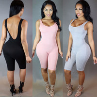 Sexy Women Rompers Solid Bodysuit Overalls Summer 2016 Cotton Bodycon Strapless Jumpsuit Backless Dungarees Woman Playsuit