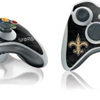 NFL New Orleans Saints Xbox 360 Wireless Controller Skin - New Orleans Saints Distressed Vinyl Decal Skin For Your Xbox 360 Wireless Controller