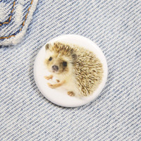 Hedgehog 1.25 Inch Pin Back Button Badge