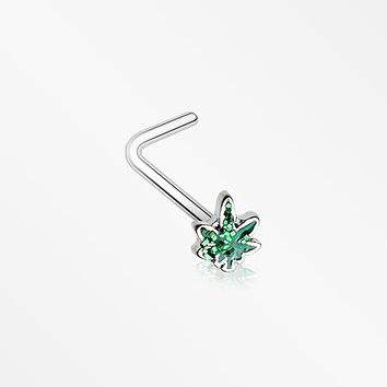 Glitter Sparkle Cannabis L-Shaped Nose Ring
