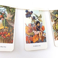 Flower Fairies of the Autumn Garland, Cicely Mary Barker, Nursery Garland, Recycled Bunting, Eco-friendly banner, Upcycled, Kids Pennants
