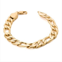 Heavy wide figaro gold bracelet men 12mm 21cm 18K Real Gold Plated big thick chain bracelet men Jewelry