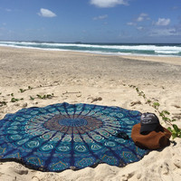 DearDeer Indian Mandala Round Roundie Beach Throw Tapestry Hippy Boho Gypsy Cotton Tablecloth Beach Towel , Round Yoga Mat [4970243204]