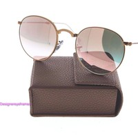 RAY BAN RB 3532 198/7Y Bronze Copper Flash Round Folding Sunglasses NWT AUTH