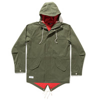 Quiet Life: Canvas Fish Tail Jacket - Army / Burgundy