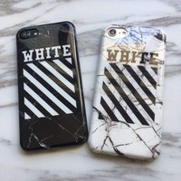 IMD OFF-WHITE OFF WHITE Abloh Kanye West Fashion Glossy Soft Silicon Case for iPhone 6s 6 Plus Case Cover for iPhone 7 Plus