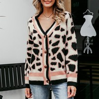 Vintage leopard print women cardigan V-neck buttons short cardigan female sweaters Casual streetwear ladies cardigans