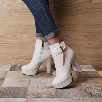 Women Round Toe Tassel Bow High Heels Ankle Boots Chunky Heel 4914