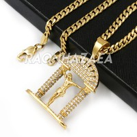 Hip Hop Iced Stainless Steel Gold / Silver Jesus Crucifix Pendant W Cuban Chain