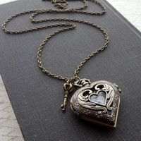 Art Nouveau Heart Pocket Watch Necklace in Antique Brass. Key. Long Necklace. Gift for her under 40 usd.