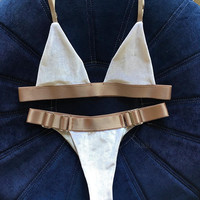 Hot Summer Beach New Arrival Swimsuit Sexy White Waistband Metal Swimwear Bikini [11616512463]