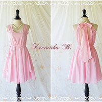 A Party Kate Cocktail Dress Cut Off Back Dress Baby Pink Dress Halter Party Dress Wedding Bridesmaid Dress Cocktail Prom Dress Custom Made