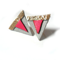 Aztec leather stud earrings in gold, hot pink and grey triangles