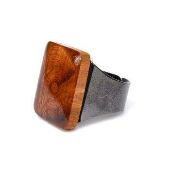 Natural wood Cocktail Ring eco friendly jewelry reclaimed wood statement ring Starlight Woods wood ring eco friendly