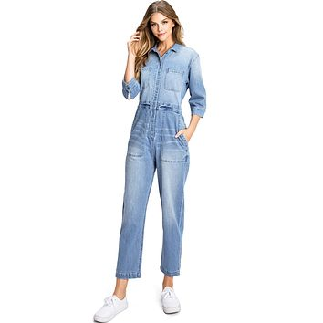 Aviator Denim Jumpsuit