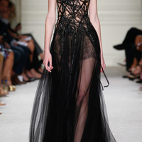 Beaded Lace Motif Gown