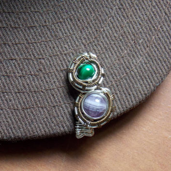 Heady Wire Wrapped Hat Clip with Amethyst and Green Tiger's Eye