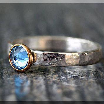 Sterling Silver Birthstone Ring, Choose Your Birthstone, Inverted Gemstone Ring, Hammered Ring, Stacking Birthstone Ring, Mixed Metals