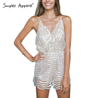 sexy backless sequin jumpsuit romper women Adjustable strap v neck evening party overalls Fashion club playsuit