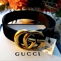 GUCCI Men and women models simple and versatile classic double G buckle belt