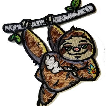 Pot Smoking Pals Lazy Hanging Sloth - Iron on Embroidered Patch Applique HS P - SR - 0028