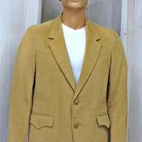 Mens vintage 70s western blazer L size 42 /  Pioneer Wear sports coat / corduroy / cowboy /  genuine leather trim / made in the USA