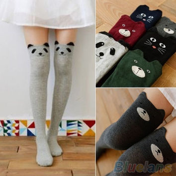 Women's Fashion Cute 3D Cartoon Animal Pattern Thigh Stockings Over Knee High Knit Socks = 1958415684