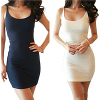 Sexy Black White Strap Stretch Bodycon Dress Close-fitting Bottoming Slip Dress Size S - XXL