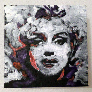 Pop Art Painting 6x6, Marilyn Monroe Art, Marilyn Art, Black and White Art, Gifts for Her, Small Painting, Urban Art, Bedroom Art