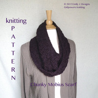Knitting Pattern Chunky Mobius Scarf Cowl, Quick Easy Fast, Thick Bulky Yarn, DIY Knit